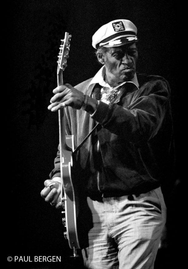 21-7-97 Peer,Belgie. Chuck Berry tijdens het slotoptreden van het vierdaagse Rhythm and Bluesfestival dat alweer voor de dertiende keer in Peer werd gehouden.Op de slotavond,de zgn. Legends of rhythm and blues,traden verder Little Richard,Billy Joe Shaver en Bo Diddley op.